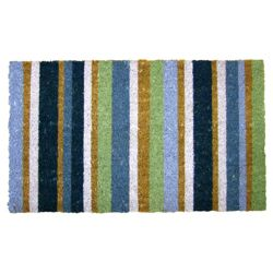 Primeur stripe coir mat, teal/lime/blue