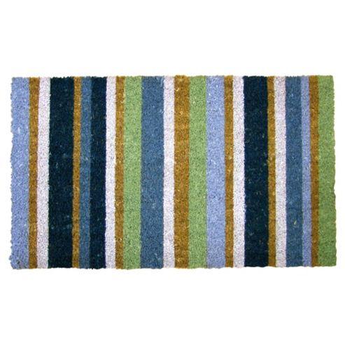 Primeur Stripe Coir Mat, Teal/Lime/Blue 45x75cm