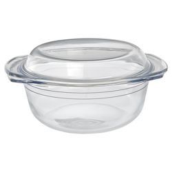 Tesco 2.5L Round Glass Casserole Dish with Lid
