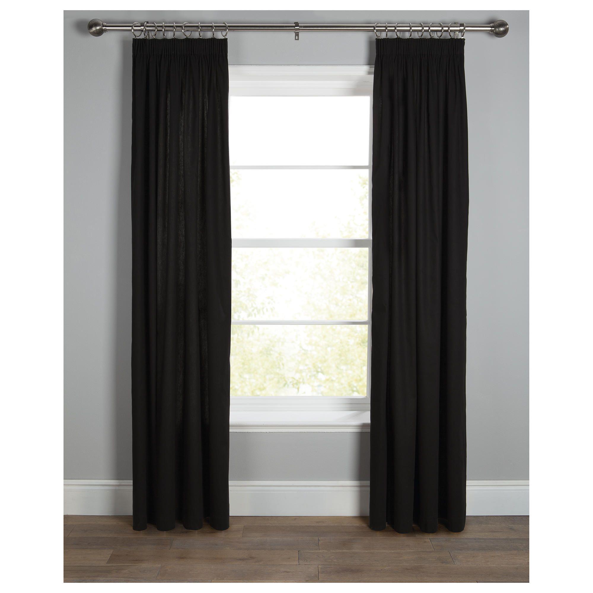 Cotton Canvas Black Eyelet Lined Curtain: 100% Thick Cotton Canvas Pencil Pleat Curtains 44 X 90