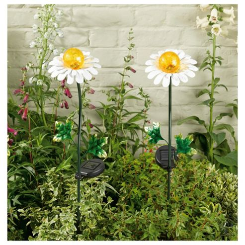 Daisy Metal Flower Solar Lights, 2 pack