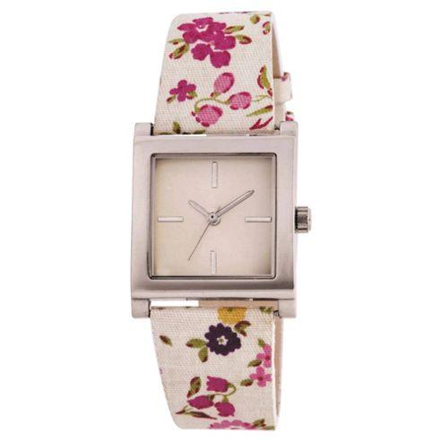 White Floral Strap Watch Ladies