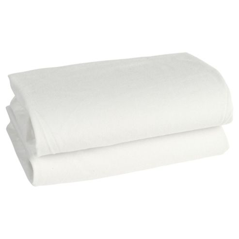 Tesco Loves Baby Fitted Jersey Sheet Moses/Pram, Cream, 2 Pack