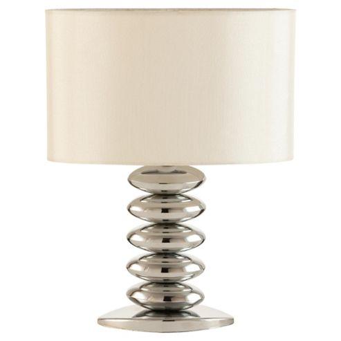 Tesco Lighting Pebble Stacked Table Lamp Chrome & Cream