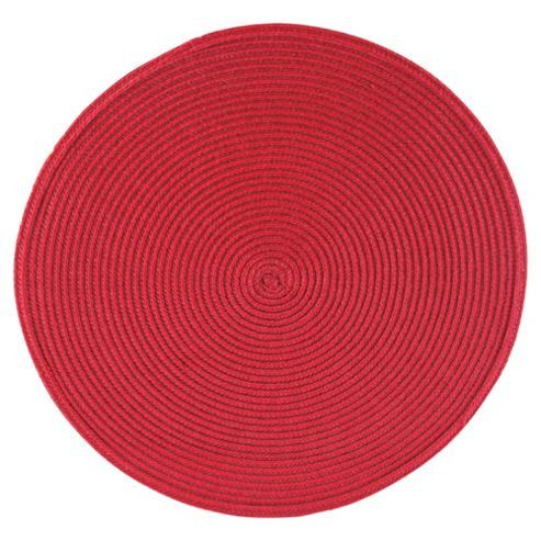 Tesco Round Woven Placemat, Burgundy