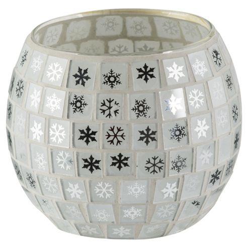 Tesco Christmas Mosaic tealight holder 8.3*6.3cmH Gold