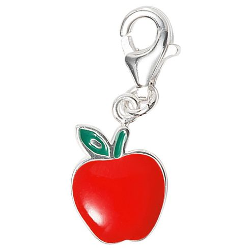 Sterling Silver and Enamel Apple Charm