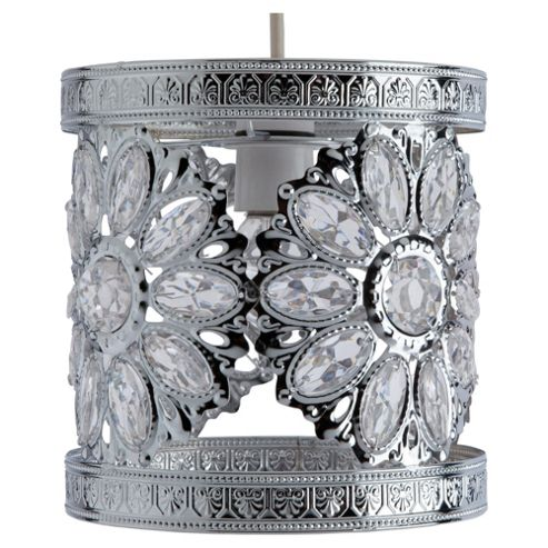 Tesco Lighting Daisy jewelled pendant chrome
