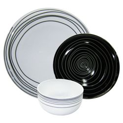 Tesco Atlanta 12 Piece, 4 Person Dinner Set - Black & White