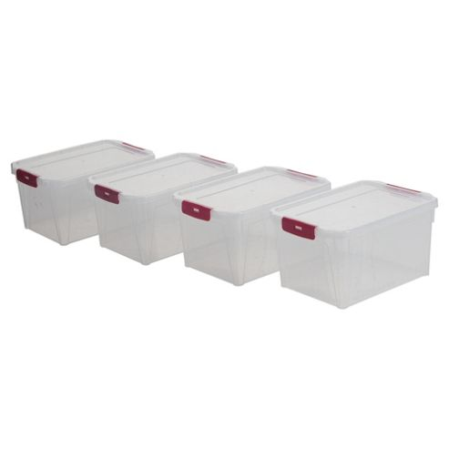 Whitefurze 2 Litre Plastic Storage Box with Clip Lid, 4-Pack