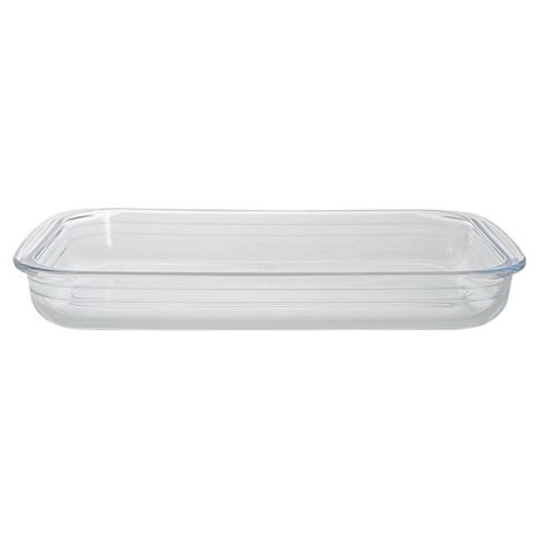 Tesco 39x23cm Rectangular Glass Roaster