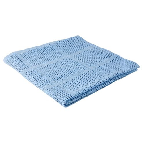 Tesco Cellular Blanket Moses/Pram 2 pack, Blue