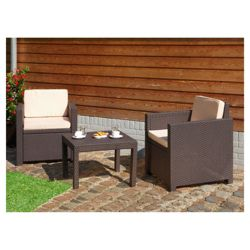 Allibert Victoria rattan effect 3 piece coffee set