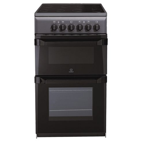 Indesit IT50CA anthracite ceramic twin electric cooker