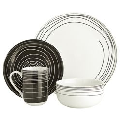Tesco Atlanta 16 Piece, 4 Person Dinner Set - Black & White