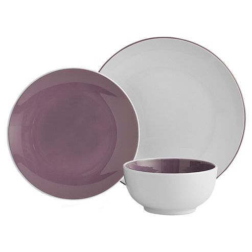 Tesco 2 Tone 12 Piece, 4 Person Dinner Set - Purple