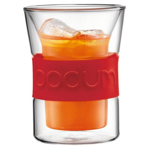 Bodum Presso Set of 2 0.2L Double Walled Glasses, Red
