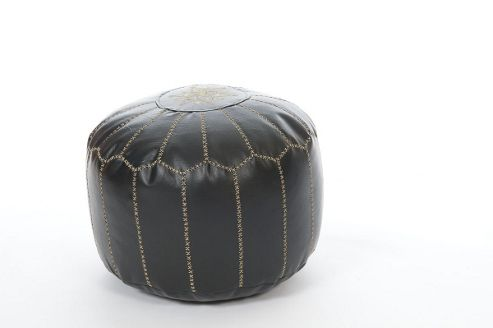 Kaikoo Moroccan Pouffe With Embroidery, Black