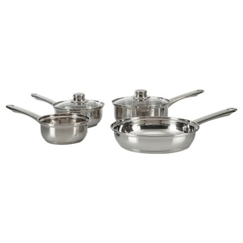Tesco 4 piece Stainless Steel Pan Set