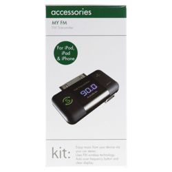 KitSound MYFM Transmitter for the new Apple iPad, iPad 2, iPhone and iPod, Black