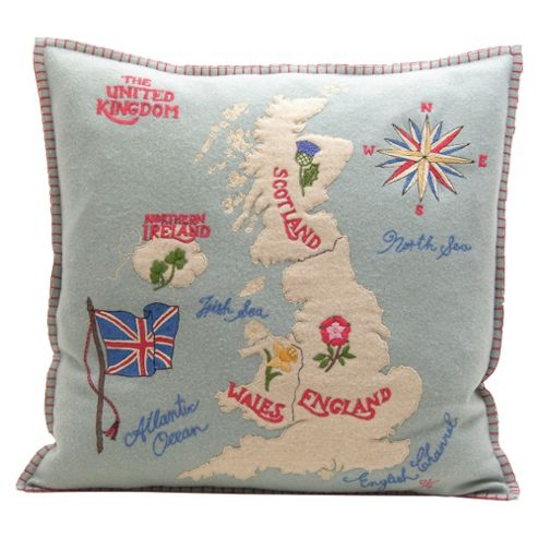 Jan Constantine Duck Egg Blue British Isles Cushion