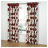 "Tesco Poppy Print lined eyelet Curtains W162xL183cm (64x72""), Red"