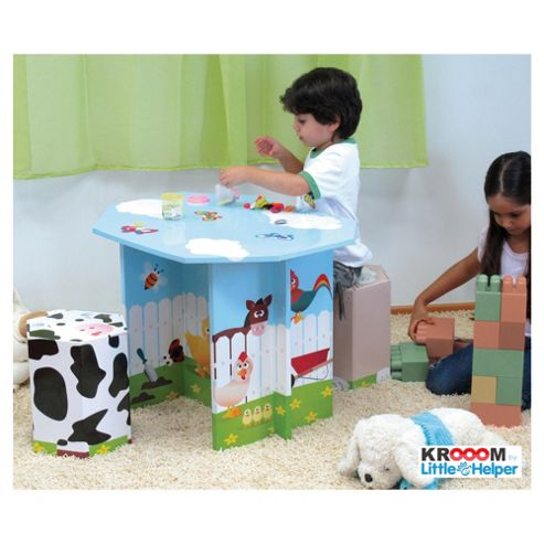 Krooom Farm Animals Table & 2 Stool Set