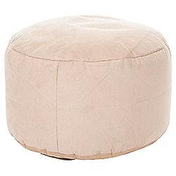 Kaikoo Faux Leather Pouffe, Cream