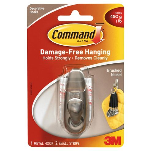 Command Brushed Nickel Metal Hook, Small