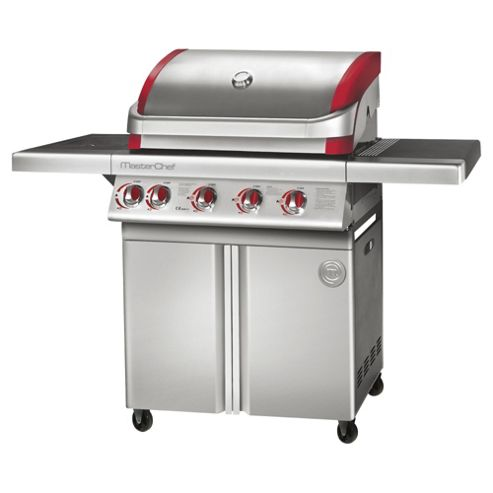 MasterChef Competitor Stainless steel 4 burner gas BBQ with Side burner