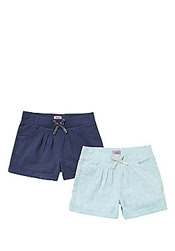 F&F 2 Pack of Jersey Shorts - Blue