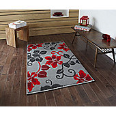Oriental Carpets & Rugs Modena Grey/Red Budget Rug - Runner 65 cm x 220 cm (2 ft 2 in x 7 ft 3 in)