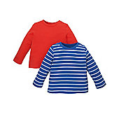 B Baby Boy's Blue Stripe and Red Long Sleeve T-Shirts - 2 Pack