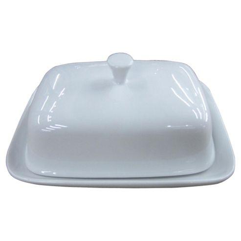 Tesco Super White Porcelain Butter Dish