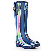 Evercreatures Ladies Funky Wellies Blue Striped Pattern 6