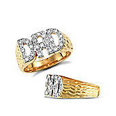 9ct Solid Gold CZ set Dad Ring