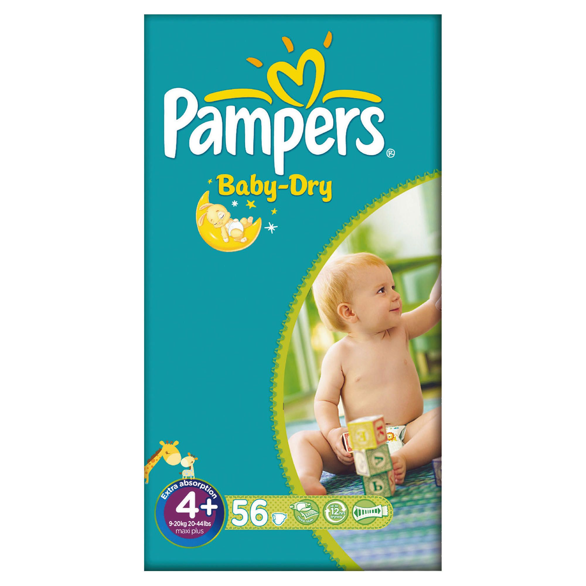 Pampers Baby-Dry locks the wetness away from your baby's skin thanks to its Micro Pearls™ located in the core of the diaper that absorbs up to 30 times their weight. This way your baby can enjoy comfortable dryness even after the little accidents, for up to 12 hours.