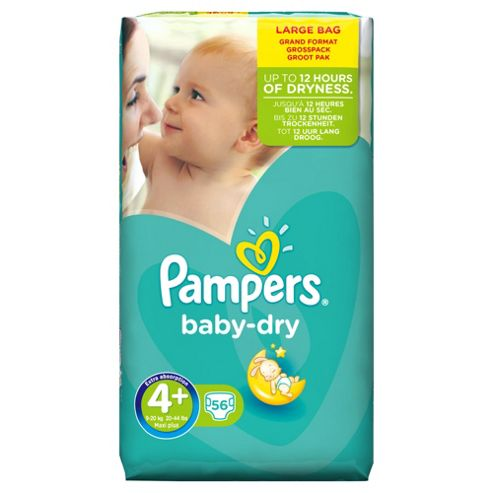 Pampers Baby Dry Size 4+ Large Pack - 56 nappies