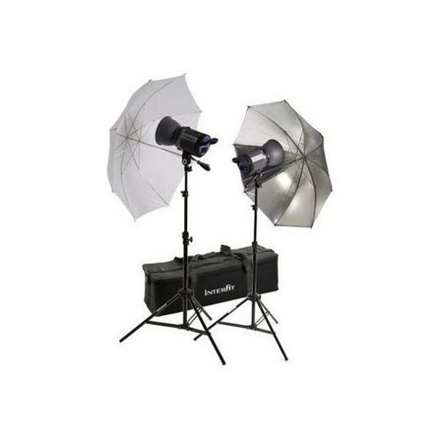 Interfit INT443 Stellar X Twin Head + Umbrella Kit 1000w Flash