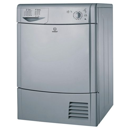 Indesit IDC85S Freestanding Condenser Tumble Dryer, 8Kg Load, C Energy Rating, Silver
