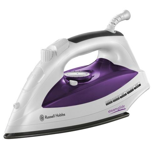 Russell Hobbs 18742 Steam Glide Non Stick Plate Steam Iron - White & Purple