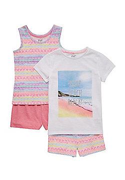 F&F 2 Pack of Aztec Print Pyjamas - Pink