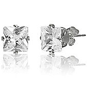 Urban Male Sterling Silver 6mm Square CZ Stud Earrings