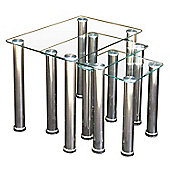ValuFurniture Crystal Nest of Tables Clear and Chrome