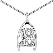 Jewelco London Rhodium-Coated Sterling Silver CZ 18 Numbers & Words Pendant