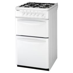 Beko DG581NWP Twin Cavity Gas Cooker 50cm White