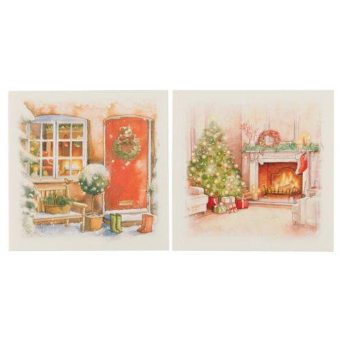 Tesco Traditional Santa Christmas Cards, 12 Pack