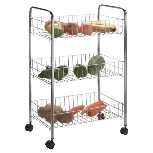 Apollo 3 Tier Chrome Vegetable Rack with Baskets