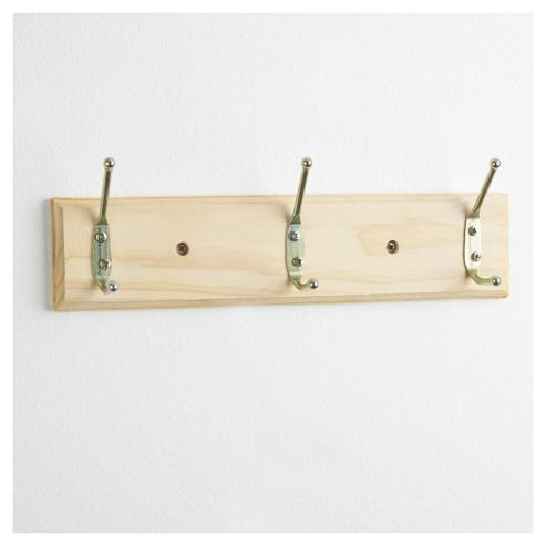Tesco Wooden Wall Mounted Coat Hook with 3 Hooks