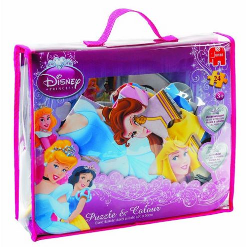 Disney Princess 24 Piece Jigsaw Puzzle & Colour Bag (Incl. Crayons)
